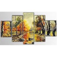 Tictac 5 Parça Kanvas Tablo - Sonbahar - 100X60 Cm