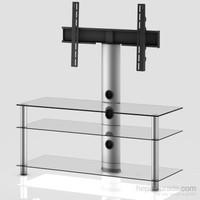 Sonorous Neo 1103-C-Slv Gri Alüminyum Gövde , Şeffaf Cam Askı Aparatlı Tv Sehpası