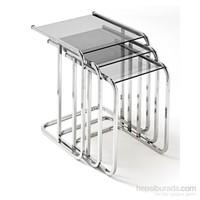 Ku_Cam Temper Glass Zigon Sehpa Cam L Krom Ayaklı 6mm