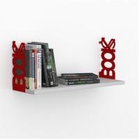 Decormet Books Raf ve Kitaplık Seti Kırmızı - P.Beyaz