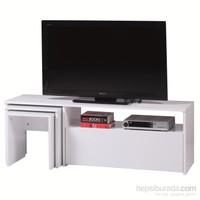 Carla Home Arena Zigonlu Beyaz Tv Sehpası