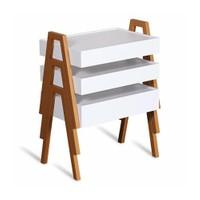 Binbir Marka Newport 3'Lü Zigon Sehpa - Tik-Beyaz