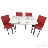 Mavi Mobilya Mutfak Cam Masa Takımı Ortadan Açılır Kırmızı Kare Desen (6 Suni Deri Sandalyeli)
