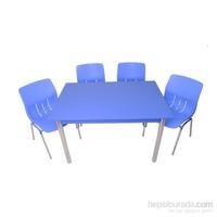 Mavi Mobilya Plastik Masa Takımı Prst002 4 Plastik Sandalyeli Mavi