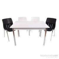 Mavi Mobilya Plastik Masa Takımı Prst013 4 Plastik Sandalyeli Siyah Beyaz