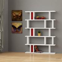 Decortie Tote Kitaplık Beyaz-(Kırmızı/Siyah)