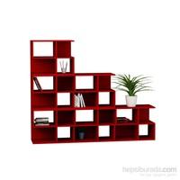 Decortie Aaron Corner Kitaplık 6Lı Set Kırmızı