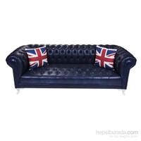 Dark Blue Leather Chesterield