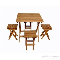 Lüx Katlanır Ahşap Masa-Sandalye Seti