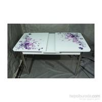 Mavi Mobilya Masa Ortadan Açılır Lila Çiçek Desen