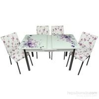Mavi Mobilya Mutfak Cam Masa Takımı Ortadan Açılır Lila Çiçek Desen (4 Suni Deri Sandalyeli)
