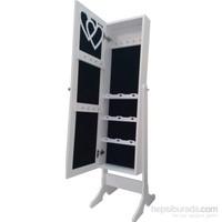 First Mobilya Dream Aynalı Takı Ve Aksesuar Dolabı Ayaklı Beyaz Siyah