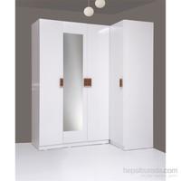 Kenyap Plus 814830 Stella AYNALI Raflı&Üç Çekmeceli Dört Kapılı Köşe Sonsuz Gardırop-Parlak Beyaz