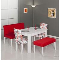 Moda Life Mobetto Papatya Masa Seti Kırmızı (Bank+Puf+2 Adet Sandalye+Masa)