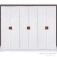 Kenyap Stella Raflı&Askılıklı&Üç Çekmeceli Altı Kapılı Sonsuz Gardırop Parlak Beyaz
