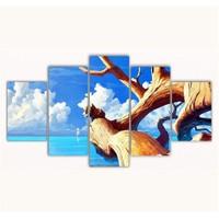 Tictac 5 Parça Kanvas Tablo - Ağaç Ve Deniz - 100X60 Cm