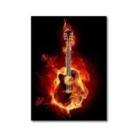 Tictac Yanan Gitar Kanvas Tablo - 60X90 Cm