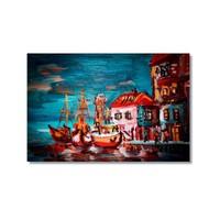 Tictac Renkli Tekneler Kanvas Tablo - 40X60 Cm