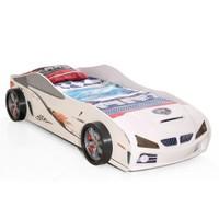 Arabalı Yatak 3D Yavrusuz Kumandasız Beyaz