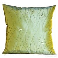Yastıkminder Tafta Yeşil Nakışlı Dekoratif Yastık