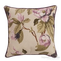 Yastıkminder Koton Lila Mor Çiçekli Fitilli Yastık