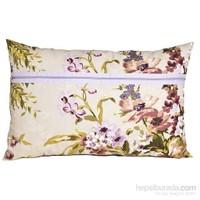 Yastıkminder Koton Lila Mor Çiçek Desenli Fermuarlı Yastık