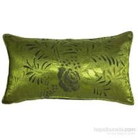 Yastıkminder Tafta Fıstık Yeşil Gül Yaprak Desen Dikdörtgen Yastık