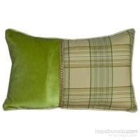 Yastıkminder Kadife Koton Düz Yeşilli Yeşil Kahve Ekose Yastık