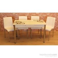 Mrt Mutfak masası takımı cam siyah halka masa 6 beyaz deri sandalye