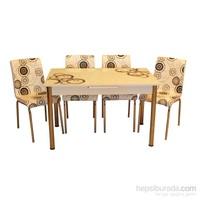 Mrt Mutfak masası takımı cam siyah halka masa 6 siyah halka deri sandalye