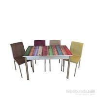 Mrt Mutfak Masası Takımı Renkli Masa 6 Renkli Tay Tüyü Kumaş Sandalye