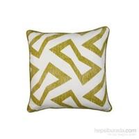 Yastıkminder Koton Geometrik Desenli Yeşil Beyaz Yastık