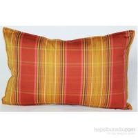 Yastıkminder Koton Fıstık Kırmızı Sarı Ekose Yastık
