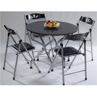 Vural Ahşap Katlanır Kırma Masa Sandalye Takımı-Yuvarlak Siyah