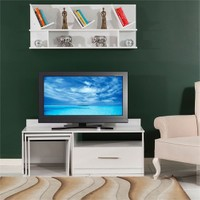 Mobetto Rose Tv Ünitesi+Duvar Rafı Beyaz