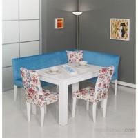 Moda Life Mobetto Nilüfer Mutfak Köşe Takımı Mavi (Köşe+Masa+2 Adet Sandalye)