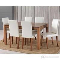 6 Sandalyeli Ortadan Açılır Masa Sandalye Takımı - Hareli Ceviz