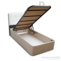 Tek Kişilik Sandıklı Kumaş Baza + Başlık - 90X190 Beyaz