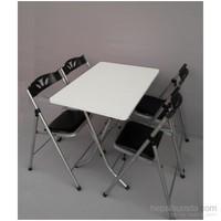 Vural Katlanabilir Mutfak Balkon Masa Sandalye Takımı Masa + 4 Sandalye