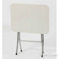 Vural Ahşap Katlanabilir Beyaz 45X60 Katlanır Masa