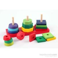 Wooden Toys Three Columns Set Building Blocks