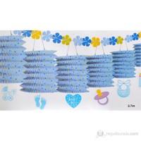 Balonevi Sıralı Desenli Fener Süs - Mavi