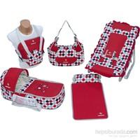 Bebesi Safir Beşli Set (Portbebe + Çanta + Kanguru + Alt Açma + Ana Kucağı) - Kırmızı