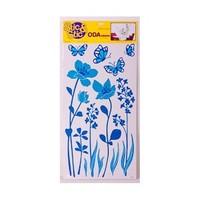 Deconation Salon Etiket Mavi Çiçekler Ve Kelebekler