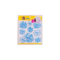 Deconation Simli Ve Taşlı Etiket Mavi Çiçekler