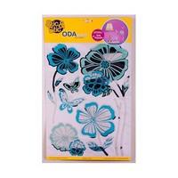 Deconation Renkli Aynalı Etiket Turkuaz Büyük Çiçekler