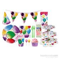 KullanAtMarket Rengarenk Balonlu Parti Seti 24 Kişilik 223 Adet