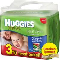 Huggies Islak Mendil (Doğal Bakım) 3'lü Fırsat Paketi (192 Yaprak)