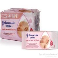 Johnson's Baby Islak Mendil 56'lı Sensitive / 3'lü Paket (168 Yaprak)