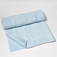Funna Baby Saç Örgü Triko Battaniye Mavi